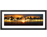 Panoramic, Photography, Poster Print, Maili Beach, Oahu, Hawaii, Sunset, Palms Trees, Tropical, Gold, Brown, Photo by Tom Yim