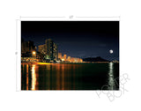 Moonrise over Waikiki Skyline Matted Photo Print