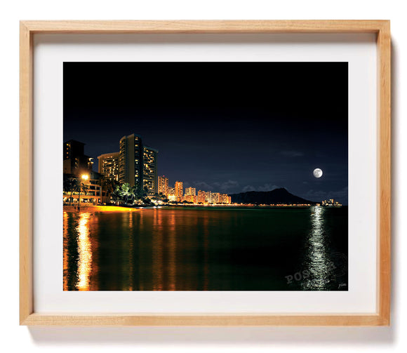Moonrise over Waikiki Skyline 24x36