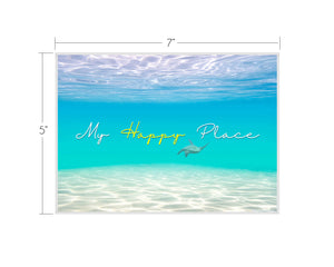 """My Happy Place"" with Honu Matted Art Print"