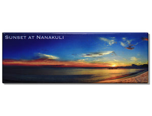 Sunset at Nanakuli Panoramic Magnet