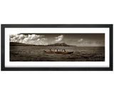 Photography, Poster Print, Panoramic, Sepia Color, Waikiki, Diamond Head, Oahu, Hawaii, Paddlers, Outrigger canoe, Photo by Tom Yim