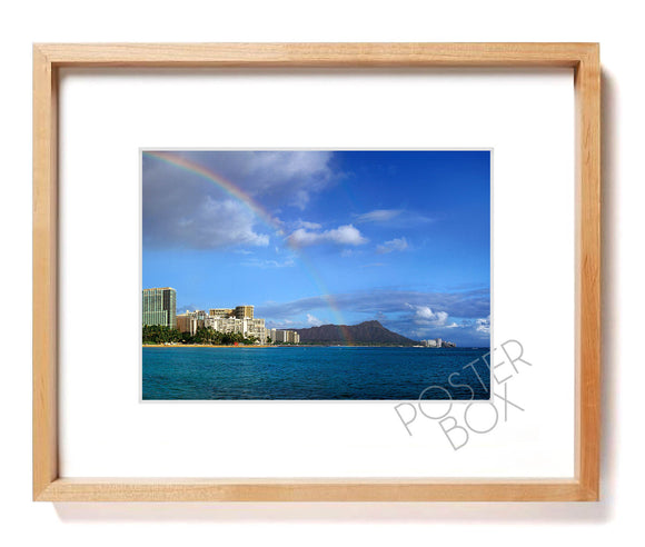 Rainbow over Waikiki Skyline Matted Photo Print