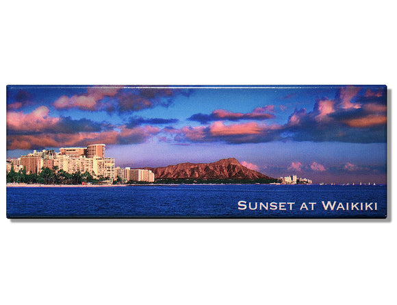 Sunset at Waikiki Panoramic Magnet