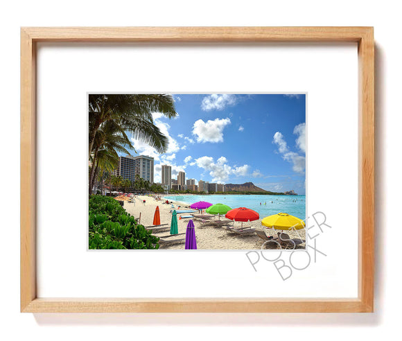 Waikiki Beach Matted Photo Print
