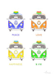 VW Buses with Surfboards Matted Art Print