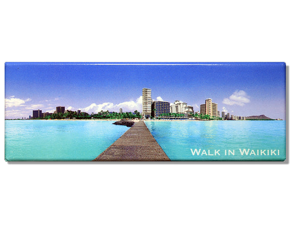 Walk In Waikiki Panoramic Magnet