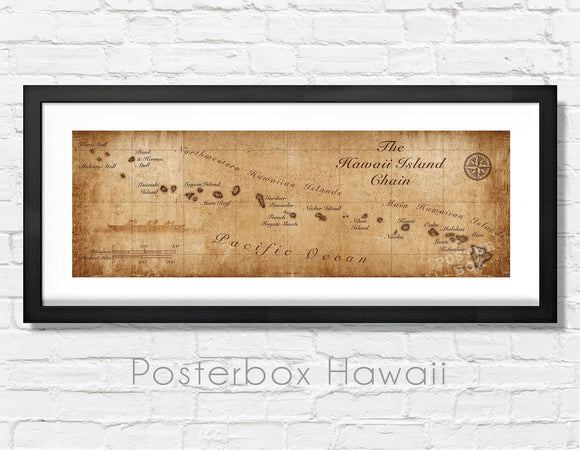 Hawaiian Islands Vintage Inspired Panoramic Map