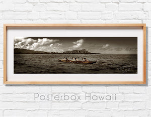 Paddlers at Diamond Head  Panoramic