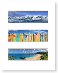 Waves on North Shore, Boards of Paradise, Waimea Bay  - Summer