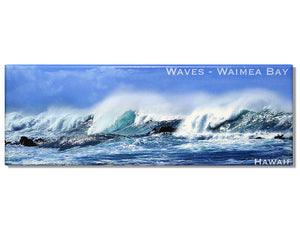 Waves at Waimea Bay North Shore Panoramic Magnet