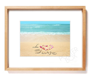 """I Love My Wife"" Sand Writing Matted Photo Print"