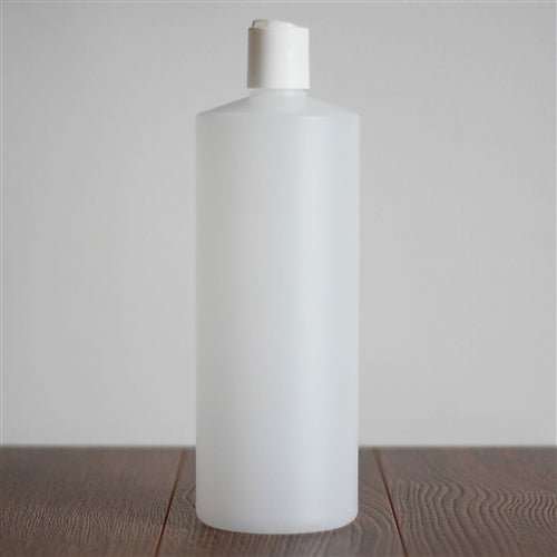 Natural HDPE Cylinder with Disc Cap - White 1 Litre