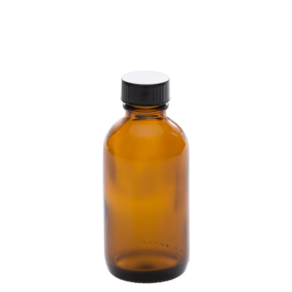 100 ml Amber Glass Bottle with 24-400 Black Phenolic Cap