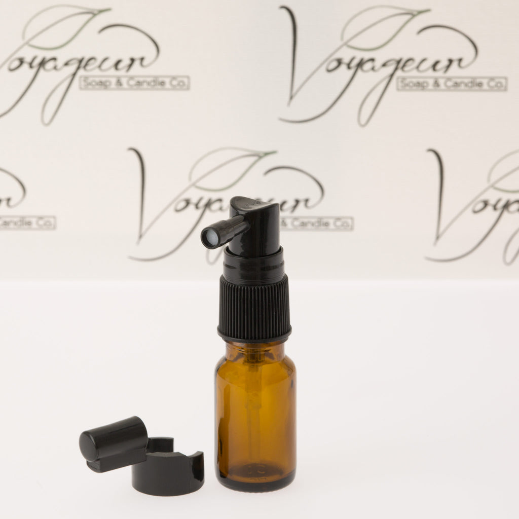 10 ml Amber Essential Oil Bottle with Black Spray Pump