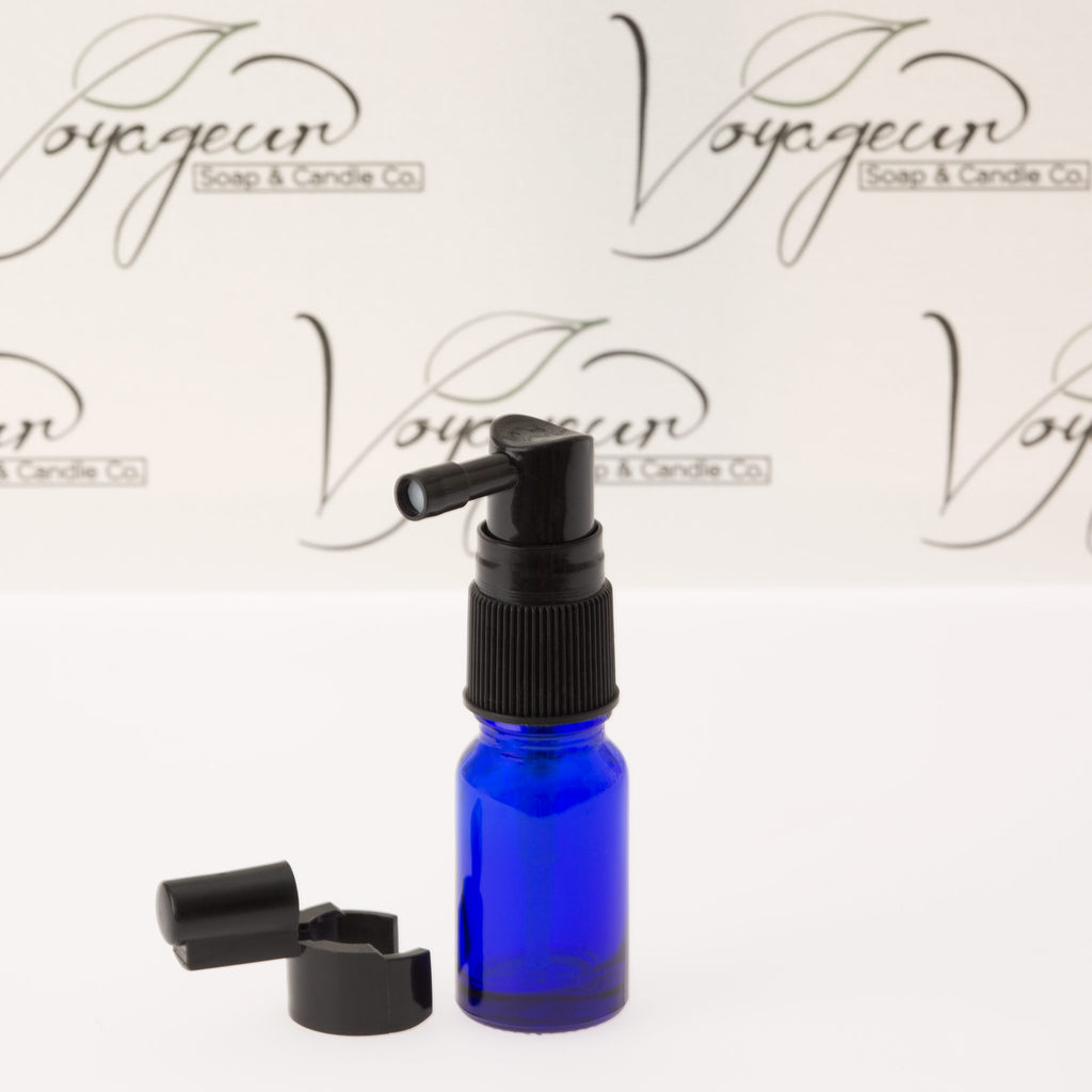 10 ml Blue Glass Essential Oil Bottle with Black Spray Pump