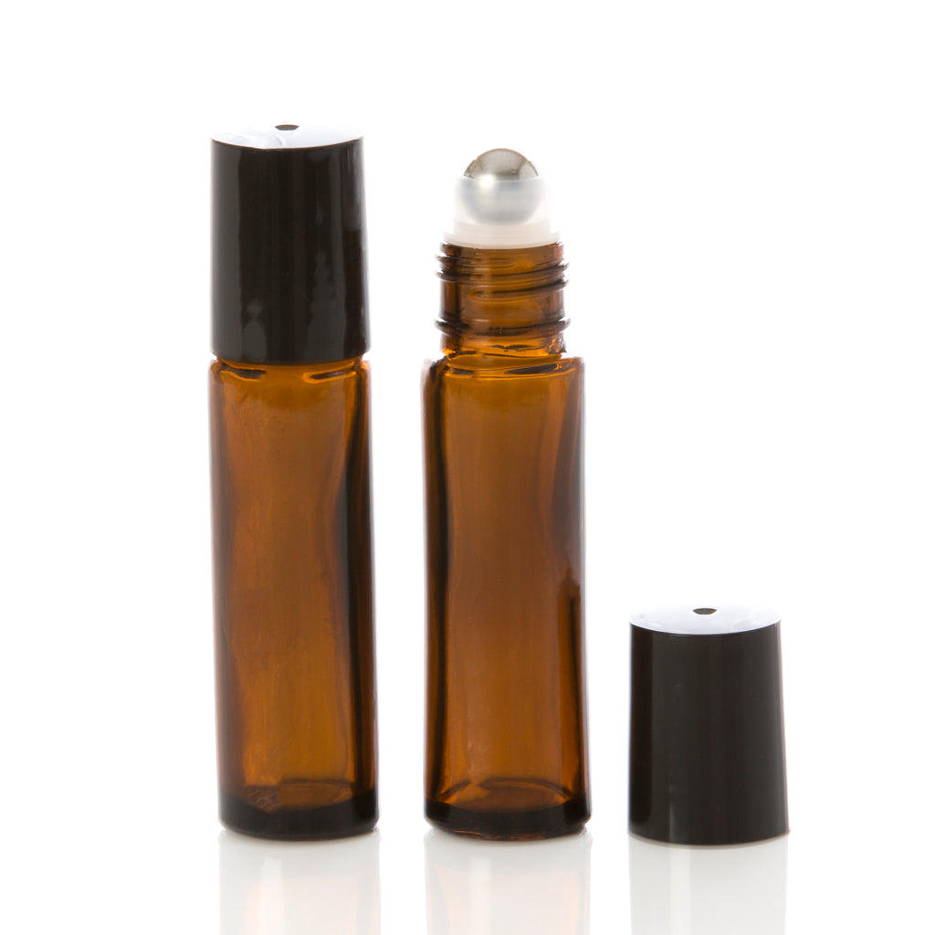 10 ml Amber Glass Rollerball Bottle with Black Cap