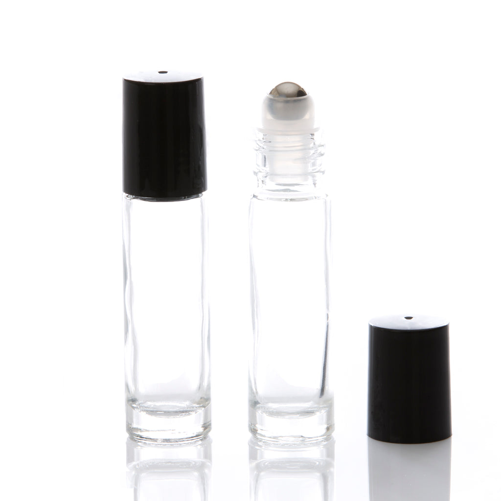 10 ml Clear Glass Rollerball Bottle with Black Cap & Stainless Steel Rollerball