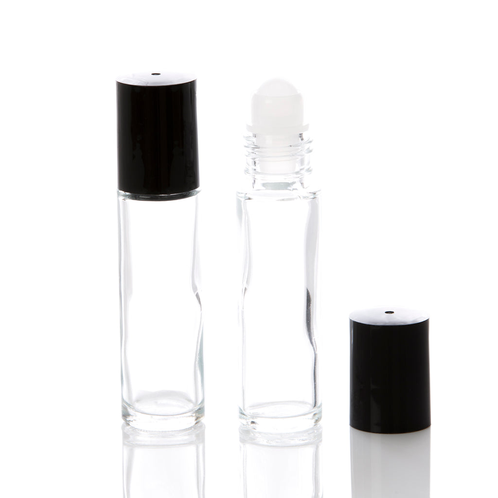 10 ml Clear Glass Rollerball Bottle with Black Cap