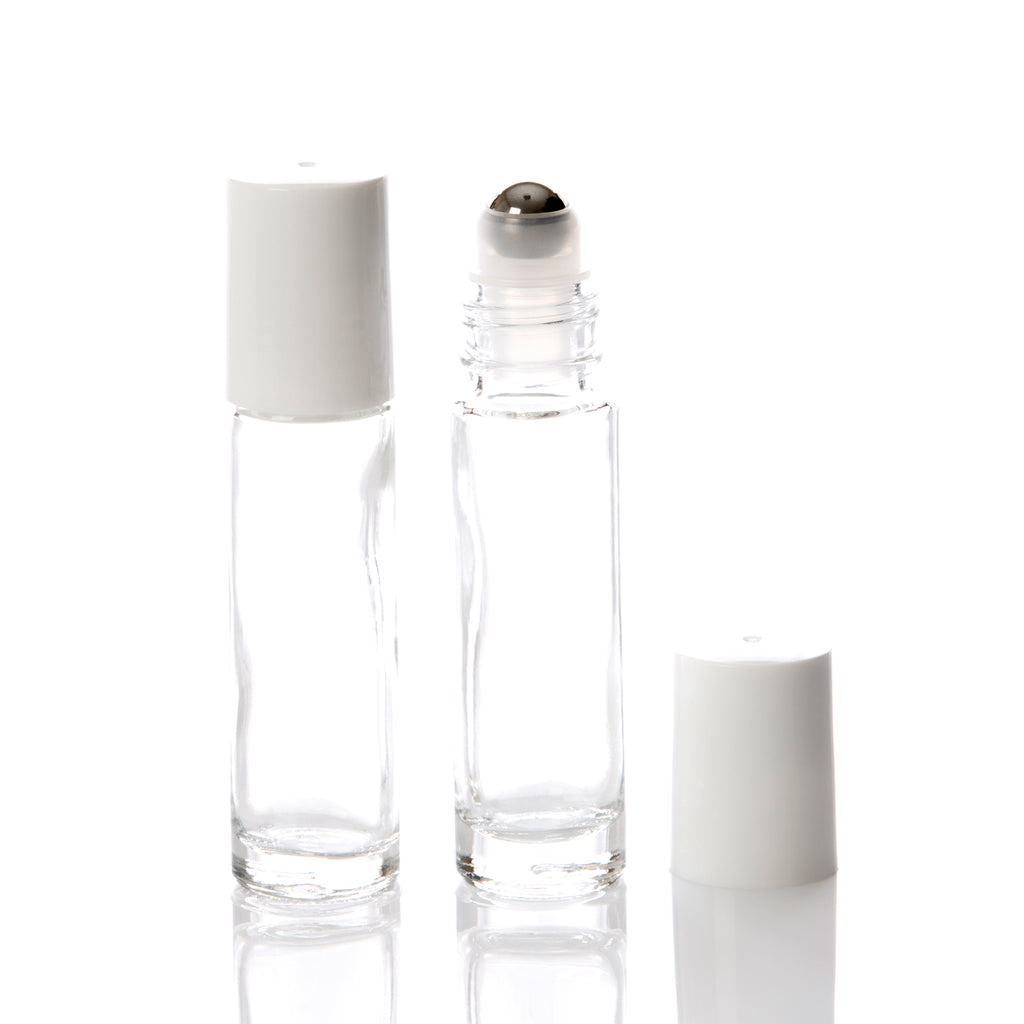 10 ml Clear Glass Rollerball Bottle with White Cap & Stainless Steel Rollerball