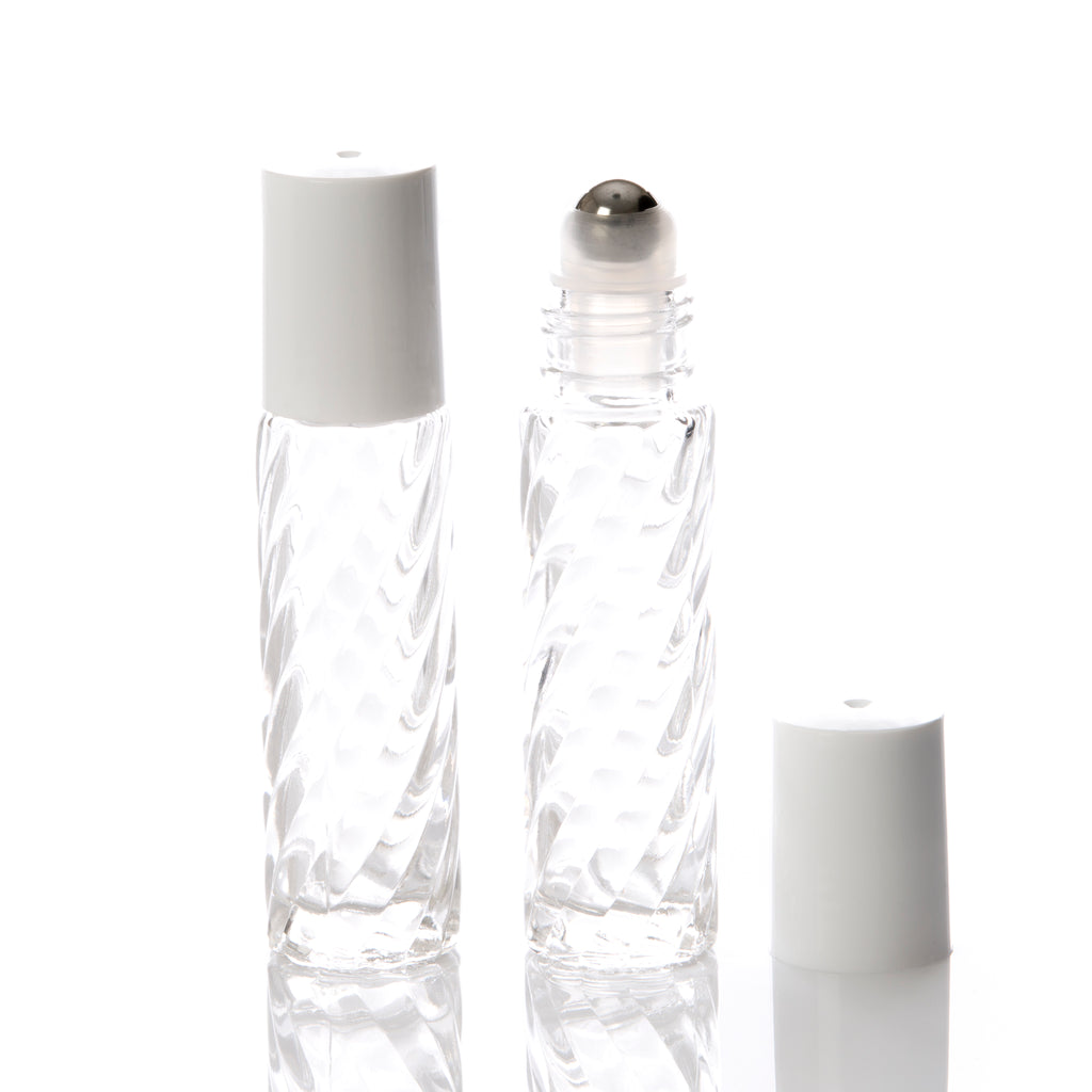 10 ml Clear Spiral Glass Rollerball Bottle w/White Cap