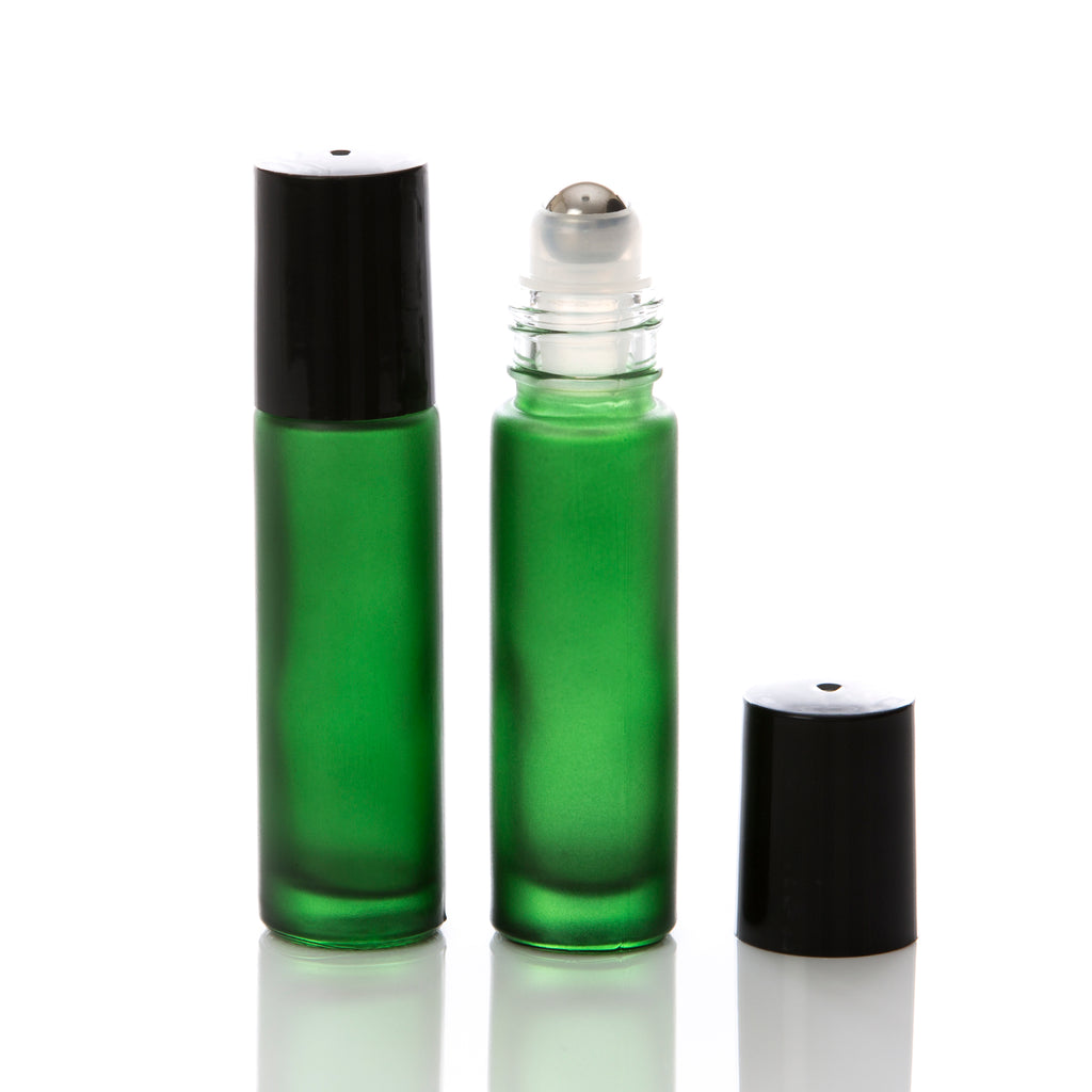 10 ml Green Frosted Glass Rollerball Bottle with Black Cap