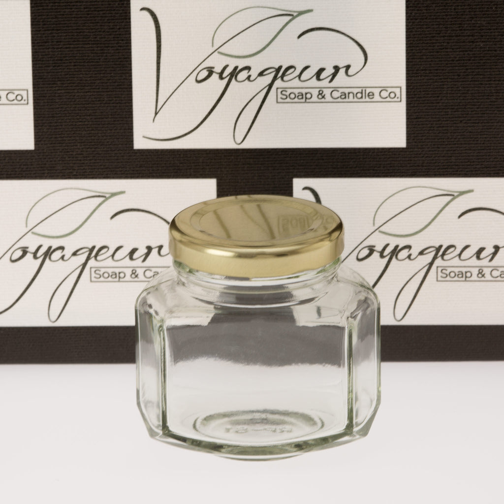 Oval Hexagon Glass Jar with Gold Lid 110 ml