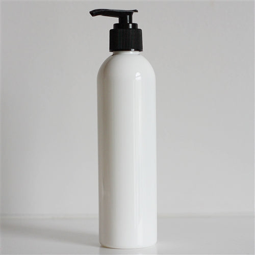 8 oz White Bullet Bottle with Pump - Black