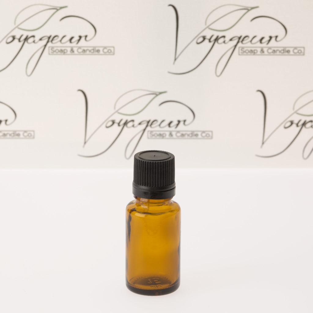 15 ml Amber Essential Oil Bottle with Black Dropper Cap
