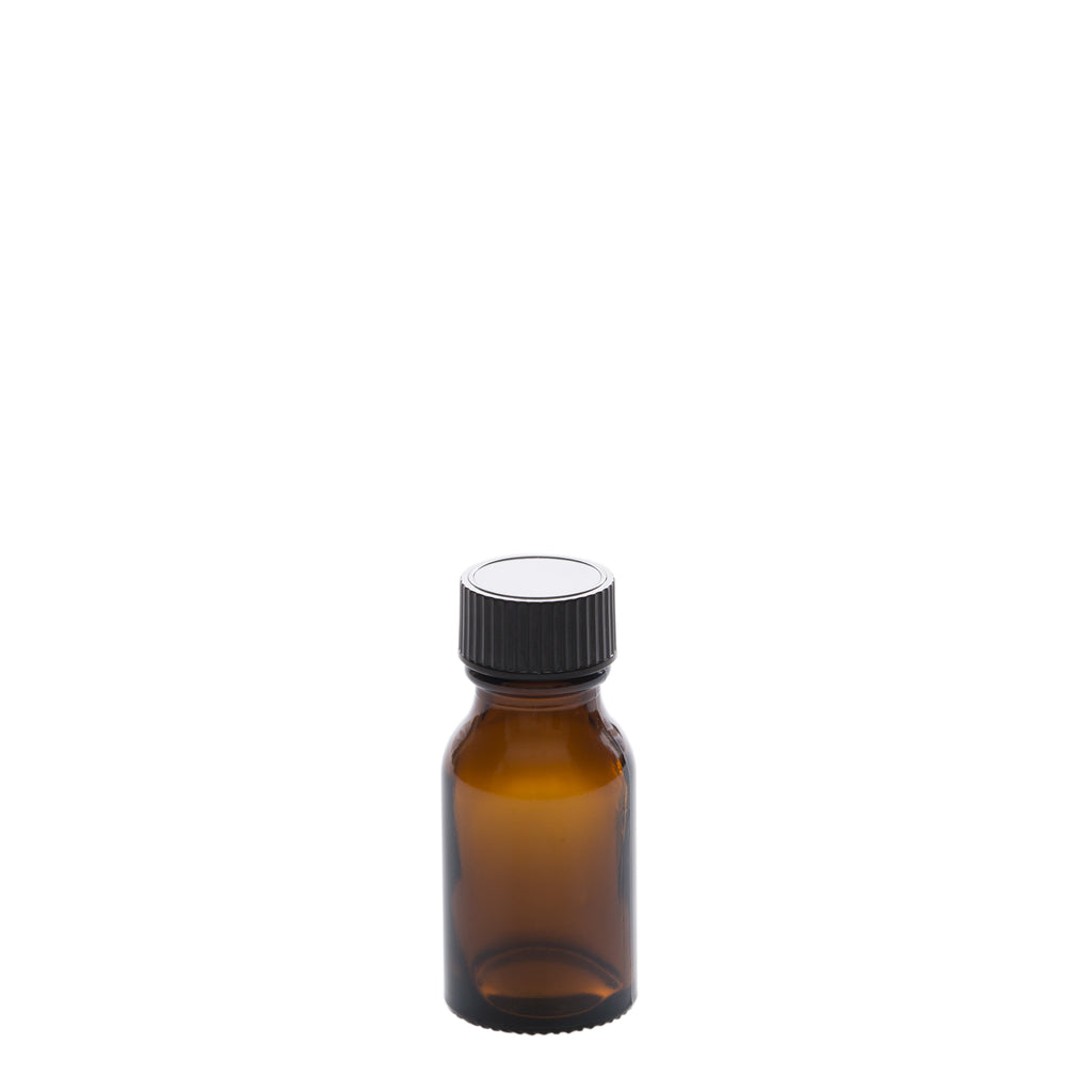 15 ml Amber Glass Bottle with 20-400 Black Phenolic Cap