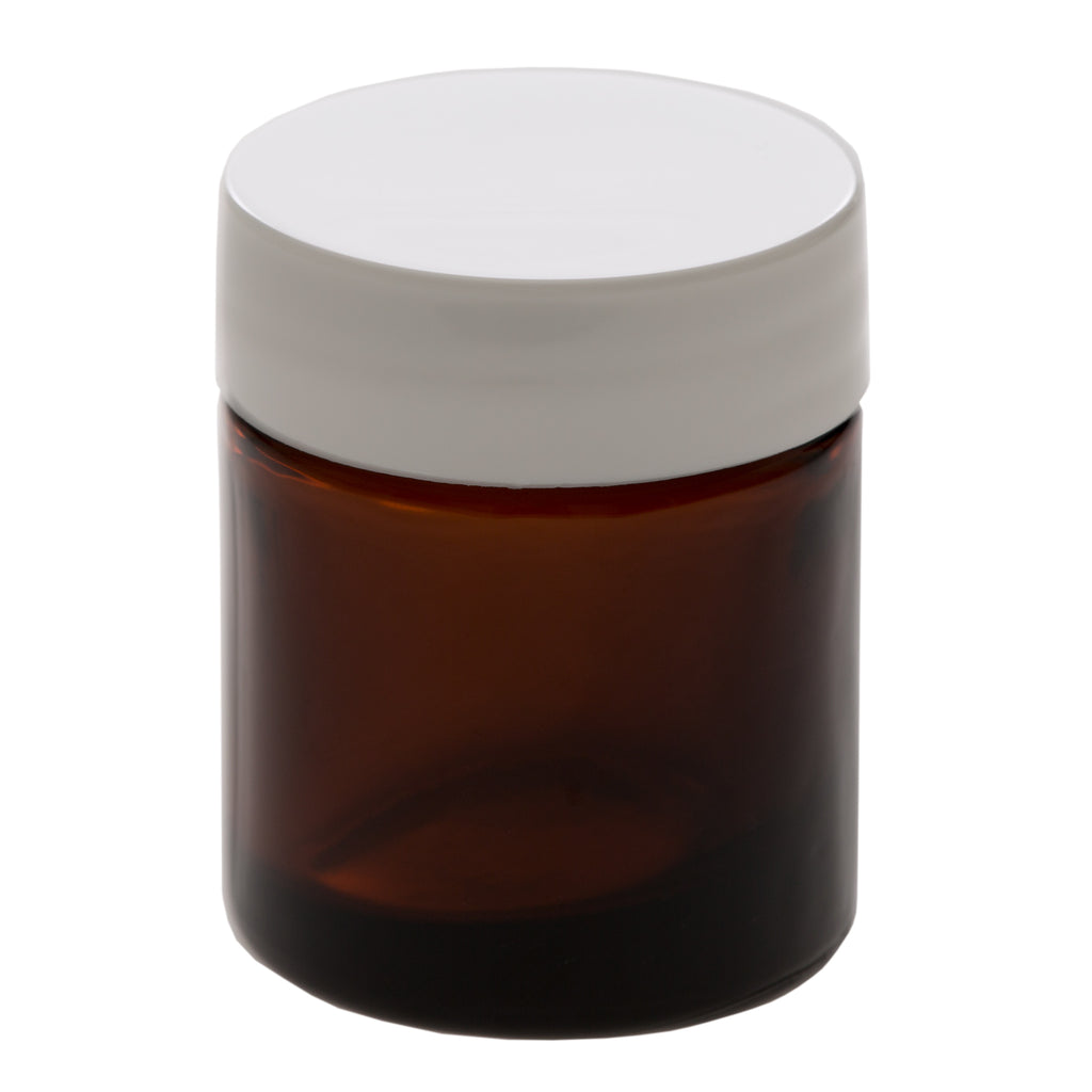 15 ml Amber Glass Jar with 33-400 White Gloss Smooth Cap
