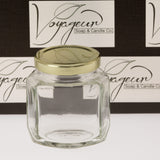 Oval Hexagon Glass Jar with Gold Lid 190 ml