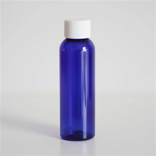 2 oz Blue PET Bullet with White Ribbed Cap