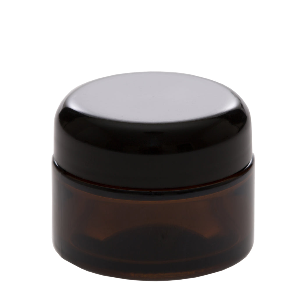 1 oz Amber Glass Jar with 48-400 Black Dome Cap