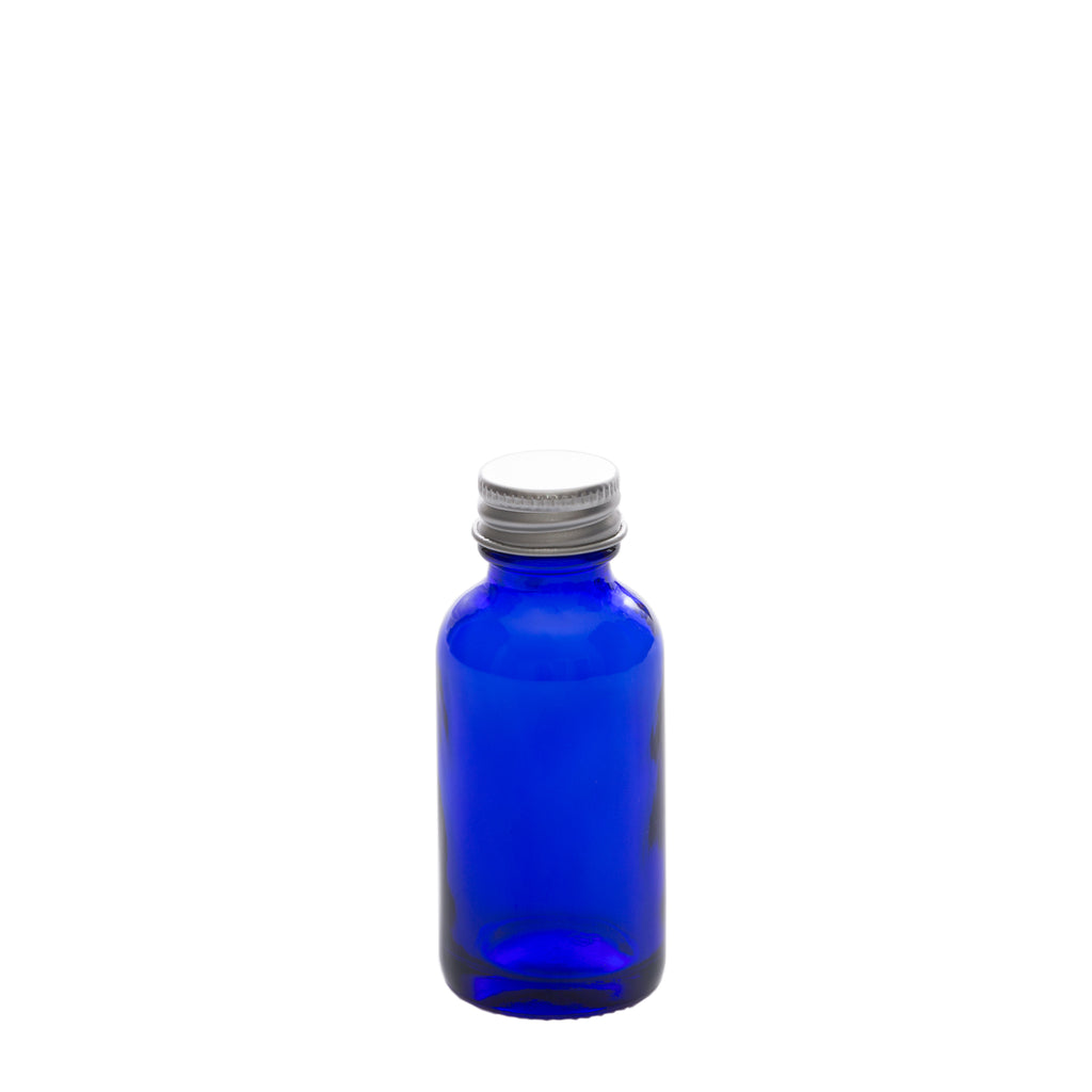 1 oz Blue Glass Bottle with Aluminum Cap