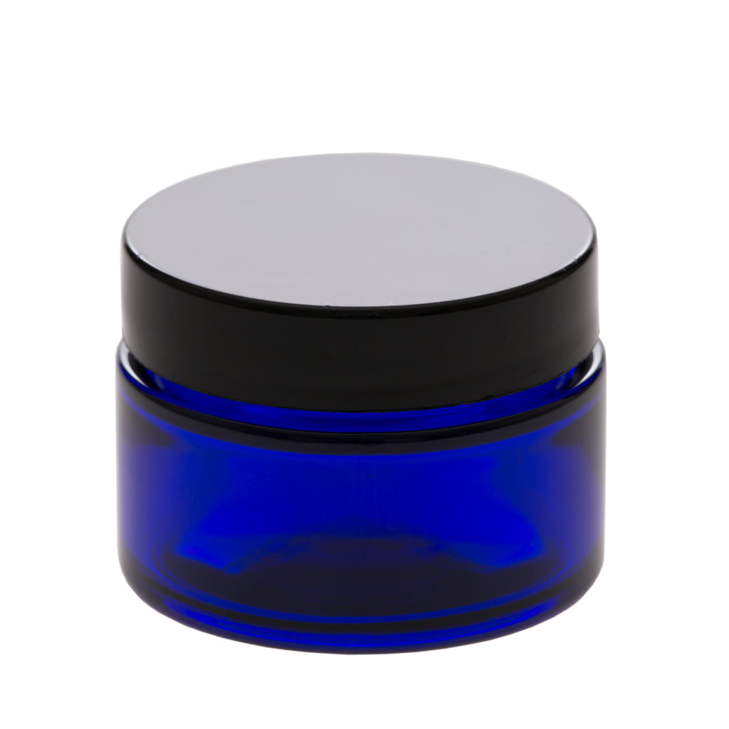 1 oz Blue Glass Jar with 48-400 Black Gloss Smooth Cap