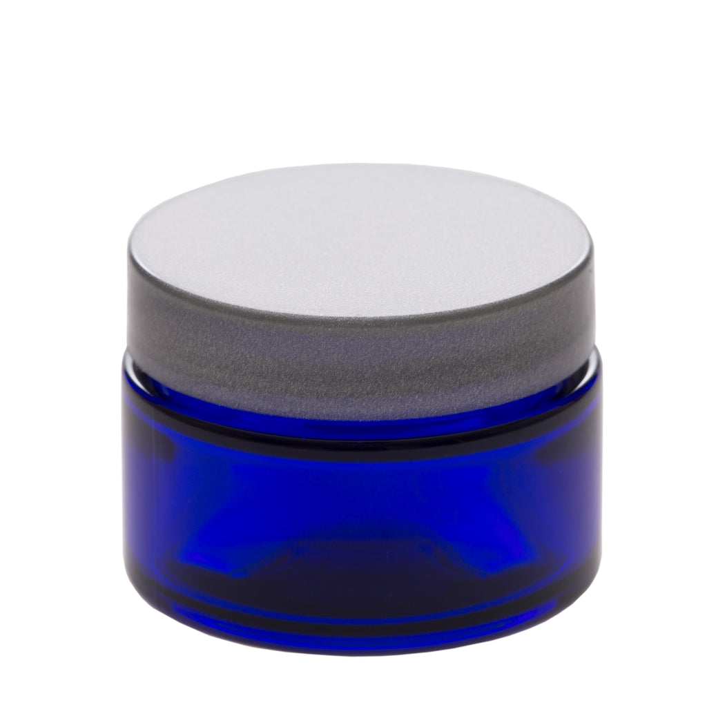 1 oz Blue Glass Jar with 48-400 Silver Gloss Smooth Cap