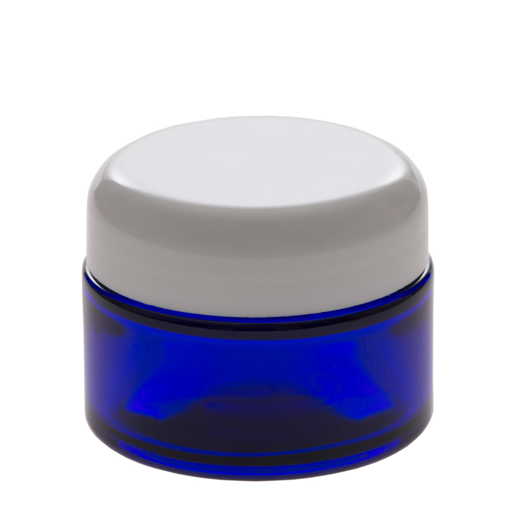1 oz Blue Glass Jar with 48-400 White Dome Cap