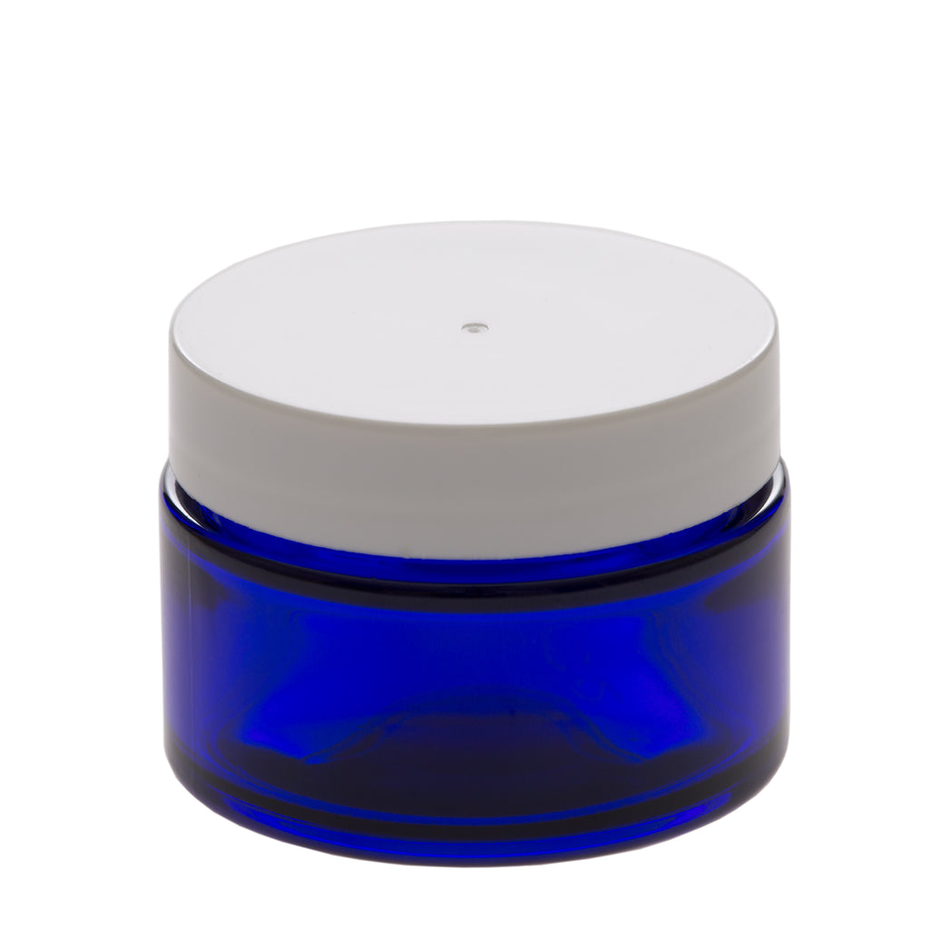 1 oz Blue Glass Jar with 48-400 White Gloss Smooth Cap