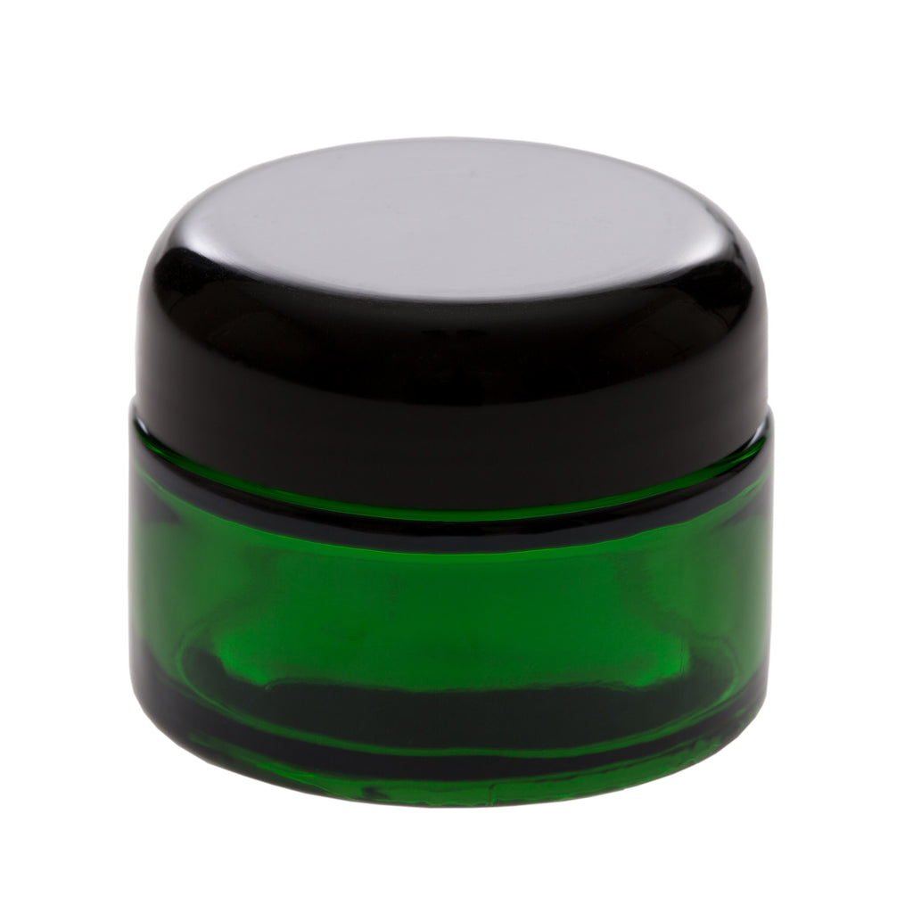 1 oz Green Glass Jar with 48-400 Black Dome Cap
