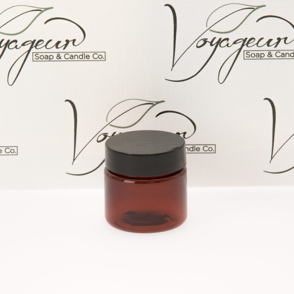 1 oz  Amber Straight Sided Jar with Black Flat Gloss Smooth Cap