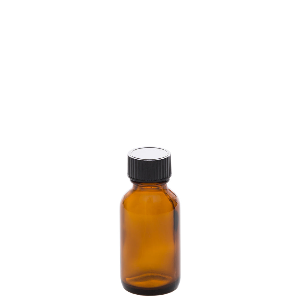 25 ml Amber Glass Bottle with 20-400 Black Phenolic Cap