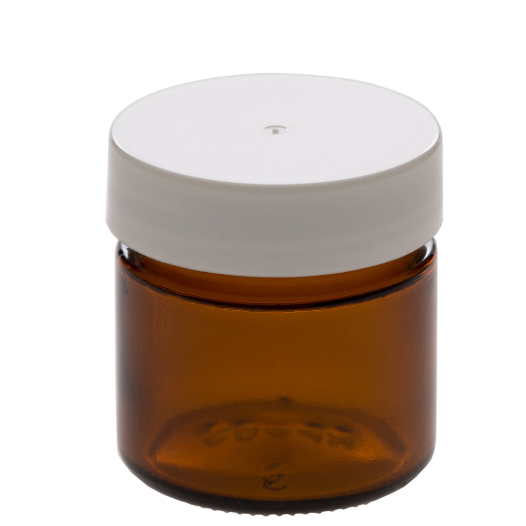 25 ml Amber Glass Jar with 38-400 White Gloss Smooth Cap