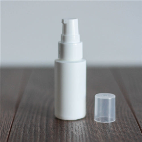 1 oz White Cylinder with Treatment Pump - White