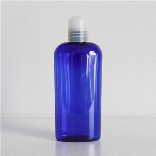 4 oz Blue PET Cosmo Oval with Disc Cap - Natural