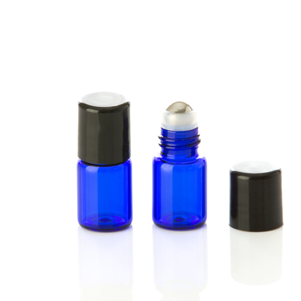 2 ml Blue Glass Rollerball Bottle with Black Cap