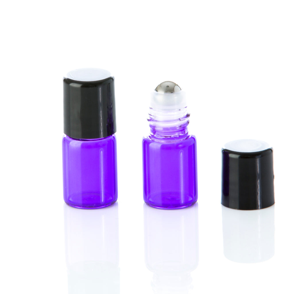 2 ml Purple Glass Rollerball Bottle with Black Cap