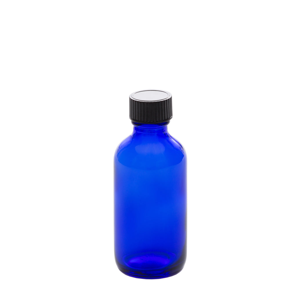 2 oz Blue Glass Bottle with 20-400 Black Phenolic Cap