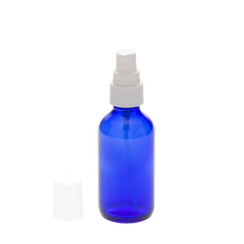 2 oz Blue Glass Bottle with 20-400 White Treatment Pump