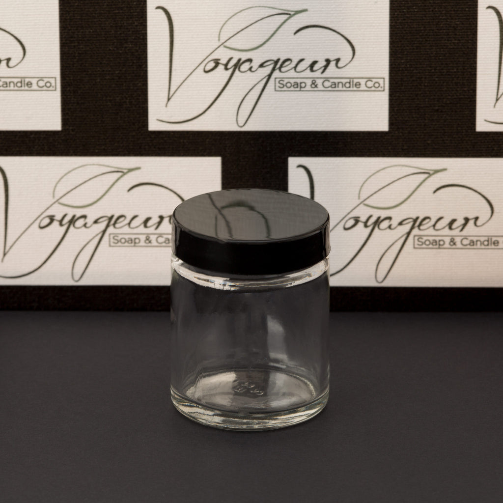 2 oz Clear Glass Jar with Black Gloss Cap